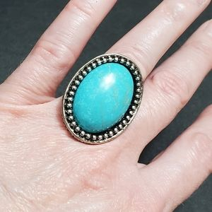 Silver tone with blue fashion ring